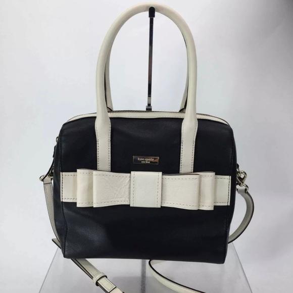 Kate Spade Ivory Black Leather Crossbody Handbag